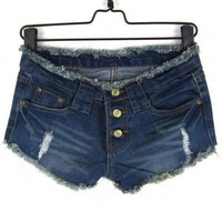Low Waist Dark blue burr short jeans  Button Fly type  Denim Pop  style zz917024 in  Indressme