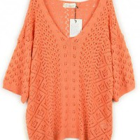 V-Neck  Orange half sleeve loose knit top   Bat sleeves Pop  style zz919007 in  Indressme
