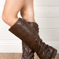 Bamboo Montage08 Brown Strap Detail Knee Riding Boots shop Boots at MakeMeChic.com