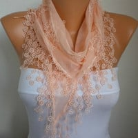Salmon Scarf  - Cotton  Scarf -  Cowl with Lace Edge   - fatwoman