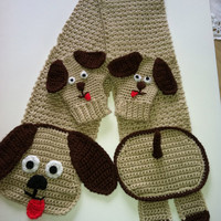 Hot Doggie Scarf & Mittens, Crochet Pattern PDF 12-065
