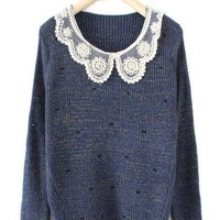 Dark Blue Long Sleeve Lace Lapel Bow Print Sweater - Sheinside.com