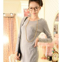 Long Sleeve Scoop Grey Cotton Women Dress One Size @WH0320g $8.99 only in eFexcity.com.