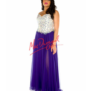 Fabulouss by Mac Duggal Strapless Sequin Bodice Purple Gown Prom 2015