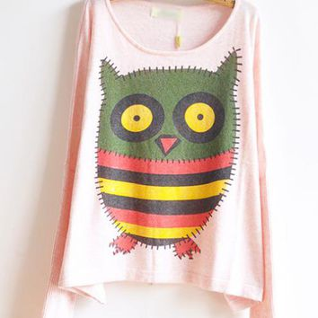 The Owl Sweet Round Neck Pink Sweater$40.00