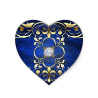 Emperor Blue Heart Stained Glass Love Sticker from Zazzle.com