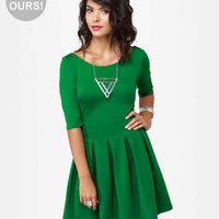 Adorable Green Dress - Skater Dress - Short Sleeve Dress - Backless Dress