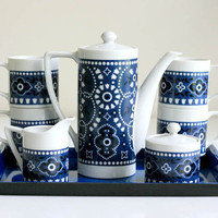 Vintage Blue Tea Set with Tray by WiseApple on Etsy