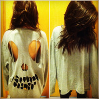 MADE TO ORDER: Oversized Gray Skull Cut-out Sweatshirt