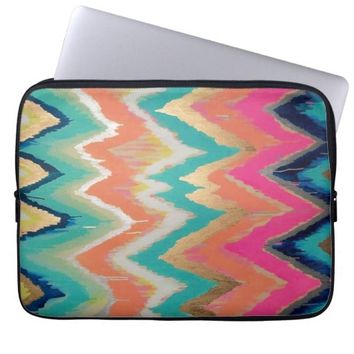 Watercolor Bright Chevron Zig Zag Stripe Pattern Laptop Computer Sleeves