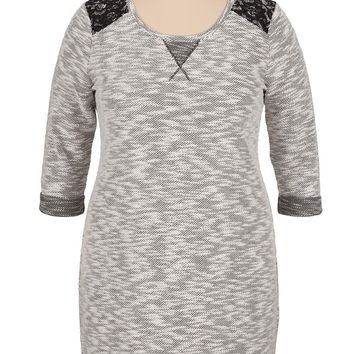 Plus Size - 3/4 Sleeve Sweater Dress With Lace - Black