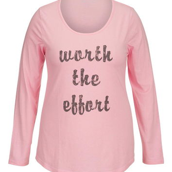 Plus Size - Worth The Effort Long Sleeve Tee - Cotton Candy