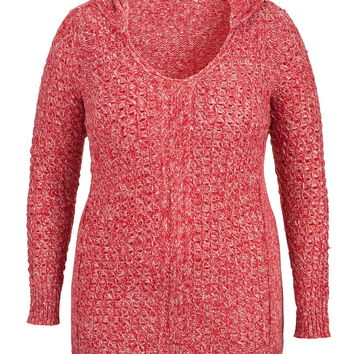 Plus Size - Open Stitch Hooded Sweater With