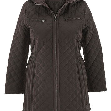Brown Quilted Plus Size Jacket With Hood - Espresso/Brown