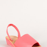 Leatherette Slingback Open Toe Wedge Sandal