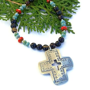 Santa Fe Cross Necklace Black Agate Red Turquoise Handmade Southwest