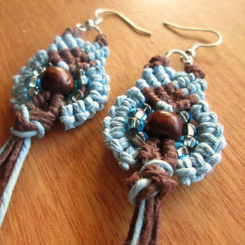 Bohemian Style Hemp Earrings Boho Hemp Jewelry Seed Bead Earrings Organic Jewelry Wood Bead Earrings