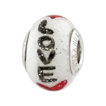 Sterling Silver Reflections Love w/Hearts Italian Glass Bead: Personalized Boutique, Inc.