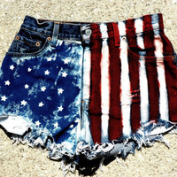 American Flag High Waisted Jean Shorts