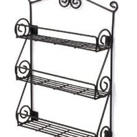 Spectrum Wall-Mountable Black Scroll Spice Rack: Kitchen & Dining