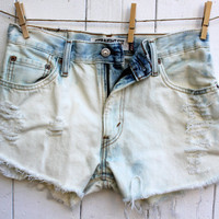 Super Sale, High Waisted White and Light Jean Colored and Bleached Shorts