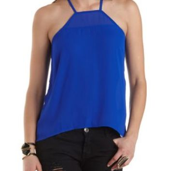 Racer Front High-Low Tank Top by Charlotte Russe - Bright Cobalt