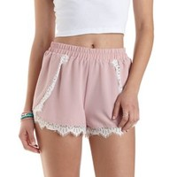 Lace-Trim High-Waisted Shorts by Charlotte Russe - Soft Pink