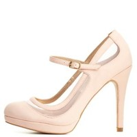 Qupid Mesh Cut-Out Mary Jane Pumps by Charlotte Russe - Blush