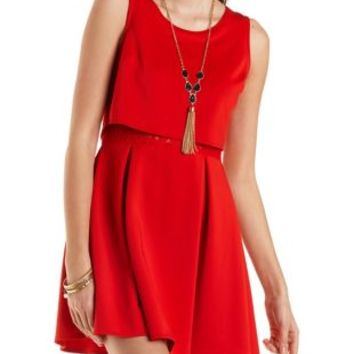 Layered Skater Dress with Lace by Charlotte Russe - Red