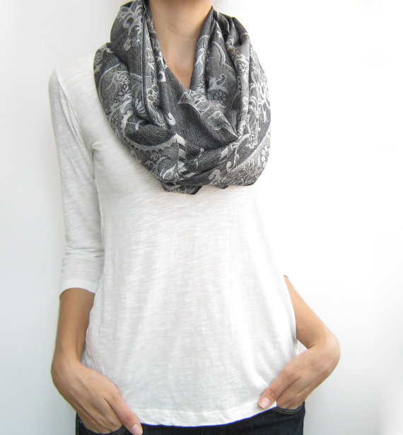 Infinity scarf,gray pashmina loop scarf, multiple options shawl