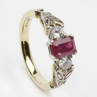 18K White Gold Diamond & Ruby Engagement Ring: Irish Claddagh and Celtic Jewellery (Jewelry) from allcladdagh