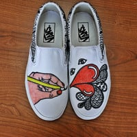 Hand-drawn Classic Vans Slip-on Shoes: PENNY