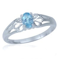 Natural Blue Topaz 925 Sterling Silver Filigree Solitaire Ring RN0028404 SilverShake.com