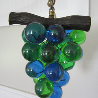1970's Vintage grape light blue and green lucite swag light