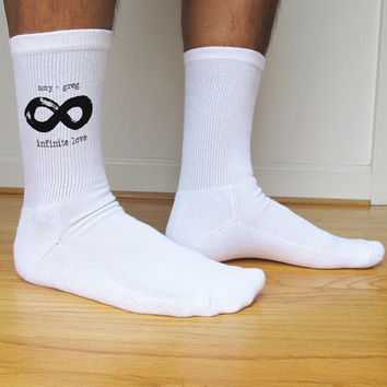 Men's Valentine's Day Socks, Infinite Love, Custom Printed, Valentine's Day Gift Idea, Personalized set of 3 pairs black or white crew socks