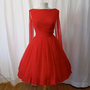 Dazzling 1950&#x27;s red chiffon party dress with wings by wearitagain