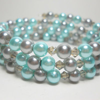 Wrap Bracelet Grey and Blue Pearl Memory Wire Bracelet