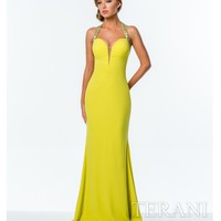 Terani 151P0071 Yellow Embellished Criss Cross Back Dress