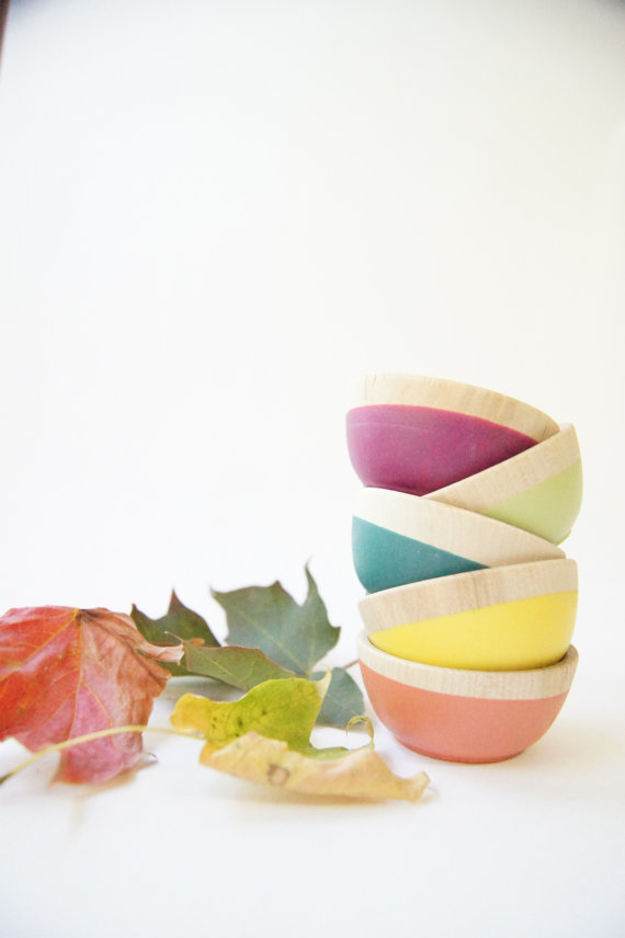 Wooden Mini Bowl Set of Five: Bright colors for Fall