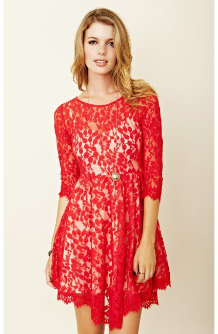 Free People - Floral Mesh Lace Dress