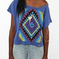 UrbanOutfitters.com > Title Unknown Techno Navajo Quilt Oversized Crop Tee