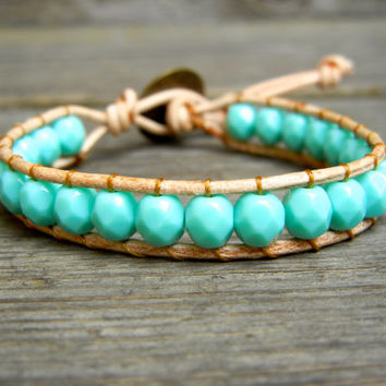 Beaded Leather Single Wrap Stackable Bracelet with Turquoise Green Czech Glass Beads on Natural Tan Leather