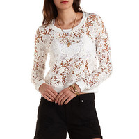 Floral Lace Sweatshirt by Charlotte Russe