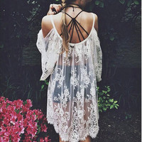 Staff Fav > OMG Crazy Beautiful Floral Lace Dress, White Crochet Lace Top, Swimsuit Cover Up, Summer Beach Cover Up.