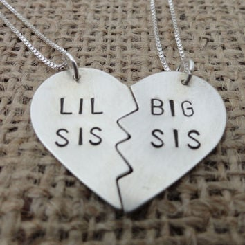 "Sterling Silver ""Lil Sis, Big Sis"" Heart Necklace - Sterling Silver Big Sister, Little Sister Necklace"
