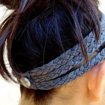 Three-Strand Braided T-Shirt Headband (Gray)