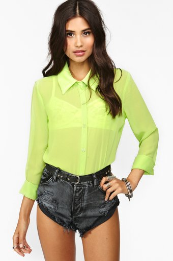 Neon Chiffon Blouse
