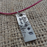 Garden Pendant on Hot Pink Leather Cord - Hand Stamped &quot;Bloom&quot;