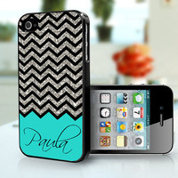 iPhone Case turquiose with silver glitter Chevron Personalised - iPhone 4S and iPhone 4 Case Cover