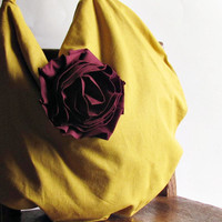 Slouchy Hobo Bag - Mustard Yellow Linen - Purse
